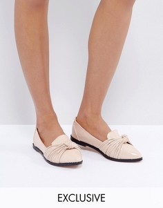 Туфли на плоской подошве телесного цвета Lost Ink - Бежевый