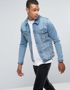 Светлая джинсовая куртка приталенного кроя ASOS - Синий