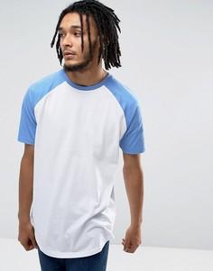 Длинная футболка с контрастными рукавами реглан ASOS - Белый