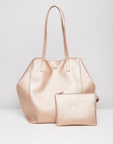 Мягкая сумка-шоппер со съемным клатчем ASOS - Золотой