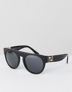 Круглые солнцезащитные очки с плоским верхом Versace - Черный