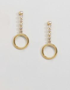 Позолоченные серьги с кольцом и стразами Gogo Philip - Золотой