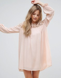 Платье-туника с длинными рукавами, вышивкой и завязкой The English Factory - Розовый