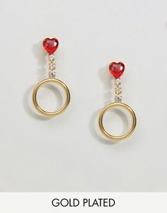 Золотистые серьги-кольца с камнями Gogo Philip - Золотой