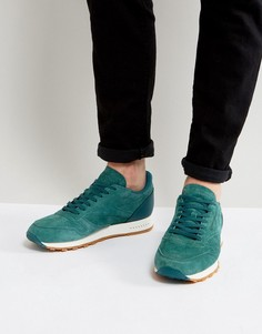 Зеленые кожаные кроссовки с резиновой подошвой Reebok Classic BD6014 - Зеленый