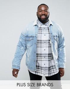 Джинсовая куртка с подкладкой и воротником из искуcственного меха Sixth June PLUS - Синий
