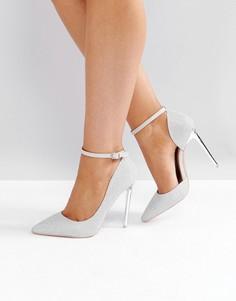 Серебристые туфли-лодочки на каблуке с ремешками Glamorous - Серебряный