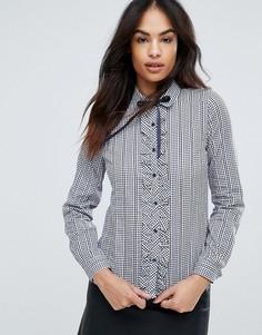 Рубашка в клетку с завязкой QED London - Темно-синий