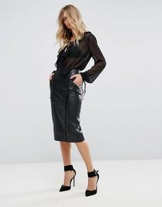 Кожаная юбка Y.A.S Vally - Черный