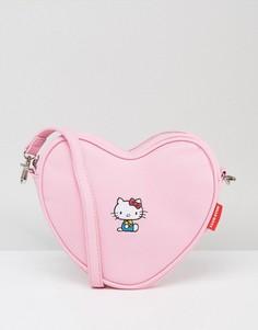 Сумка через плечо в форме сердца с вышивкой Lazy Oaf x Hello Kitty - Розовый