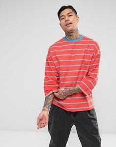 Оверсайз-футболка в полоску с рукавами 3/4 ASOS - Красный