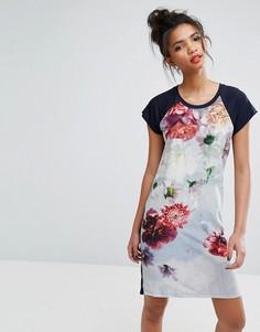 Платье-футболка с цветчоным принтом Ps By Paul Smith - Черный