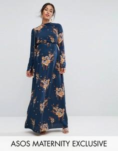 Платье макси с длинными рукавами и принтом ASOS Maternity - Мульти
