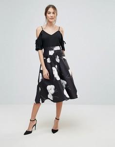 Юбка для выпускного с цветочным принтом Uttam Boutique - Черный
