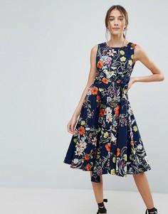 Приталенное платье миди с цветочным принтом Uttam Boutique - Темно-синий