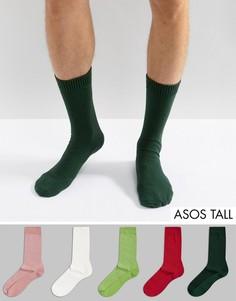 5 пар розовых и зеленых носков из вафельного трикотажа ASOS TALL - Мульти