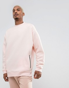 Свободный стеганый свитшот с карманами на молнии ASOS - Розовый
