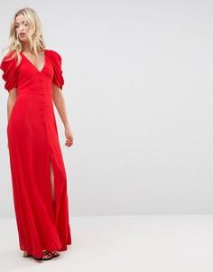 Платье макси на пуговицах с короткими рукавами ASOS - Красный