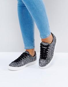 Кроссовки с блестками на шнуровке New Look - Черный