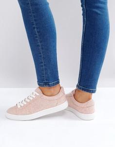 Кроссовки с блестками на шнуровке New Look - Розовый