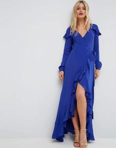 Чайное платье макси с запахом и длинными рукавами ASOS - Синий