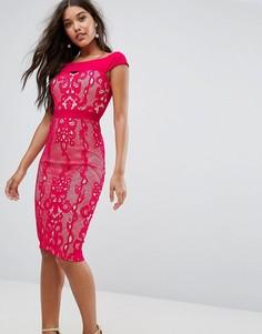 Кружевное платье с открытыми плечами Little Mistress - Красный