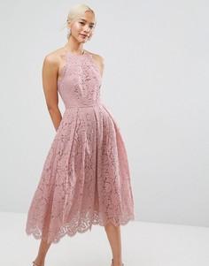Кружевное платье миди для выпускного с фигурными краями ASOS - Розовый