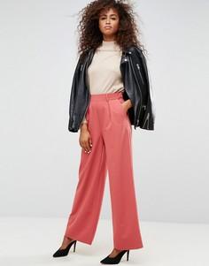 Широкие брюки со складками ASOS - Розовый