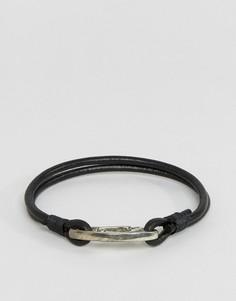 Черный кожаный браслет с крючком Jack & Jones - Черный
