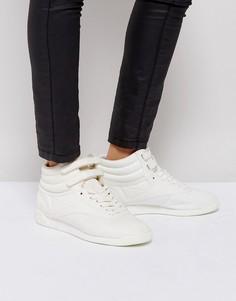 Бежевые высокие кроссовки Reebok Freestyle - Белый