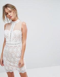Кружевное полупрозрачное платье New Look - Белый