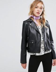 Байкерская куртка из искусственной кожи Monki - Черный