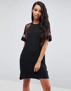 Платье с сетчатыми рукавами Samsoe & Samsoe Mouton - Черный