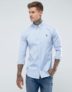 Голубая оксфордская рубашка приталенного кроя с логотипом-зеброй PS by Paul Smith - Синий