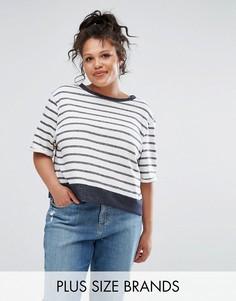 Свободная футболка в полоску Elvi - Кремовый
