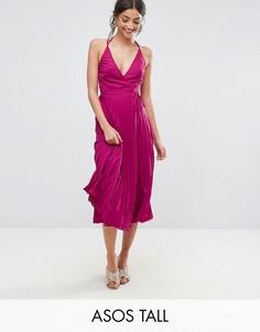 Плиссированное платье миди с запахом ASOS TALL - Мульти