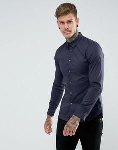 Темно-синяя облегающая эластичная рубашка PS by Paul Smith - Темно-синий