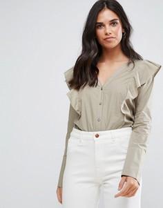 Блузка с оборками на плечах Vila - Белый