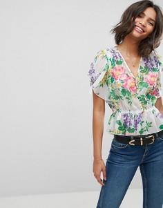 Блузка с винтажным цветочным принтом ASOS - Мульти