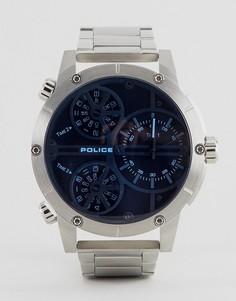 Мужские часы из нержавеющей стали с синим многофункциональным циферблатом Police - Серебряный