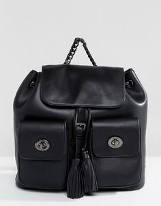 Черный рюкзак с двумя карманами и кисточками Marc B - Черный