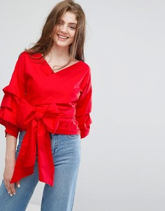 Блузка с запахом и ярусными рукавами Willow and Paige - Красный