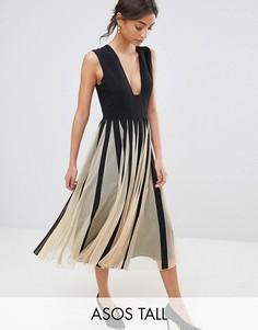 Сетчатое приталенное платье миди со свободной юбкой и глубоким квадратным вырезом ASOS TALL - Мульти