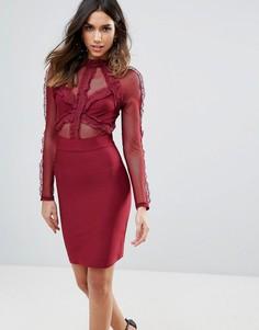 Облегающее платье мини с кружевом WOW Couture - Красный