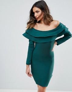 Бандажное облегающее платье мини с открытыми плечами и оборками WOW Couture - Зеленый