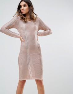 Ажурное платье миди WOW Couture - Золотой