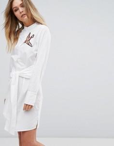 Платье-рубашка с аппликацией в виде птицы Vero Moda - Белый