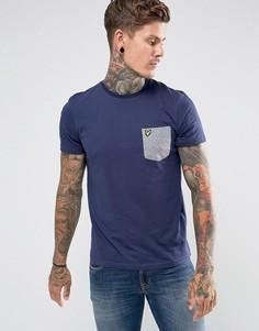 Темно-синяя футболка с контрастным карманом Lyle & Scott - Темно-синий