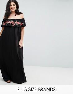 Платье макси со спущенными плечами и вышивкой AX Paris Plus - Черный