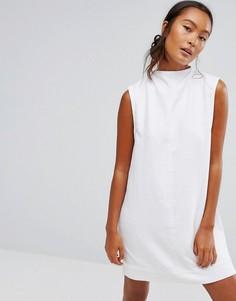 Джинсовое платье с высоким воротом Waven Ditte - Белый